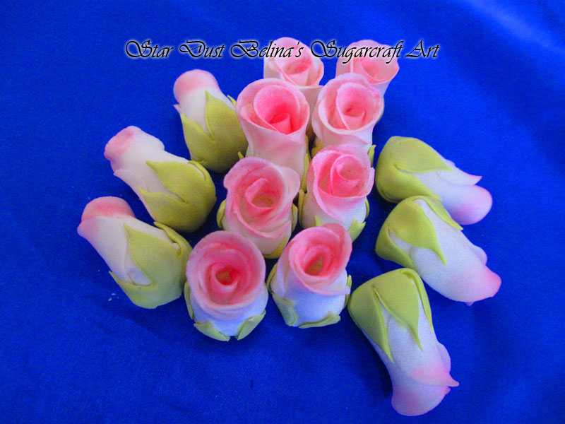 $Pink roses buds sugar flowers