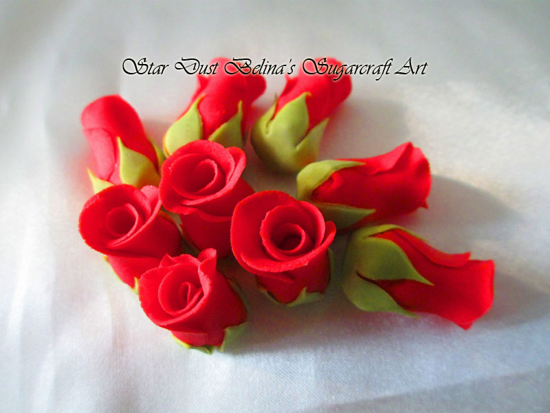 $Red roses buds sugar flowers