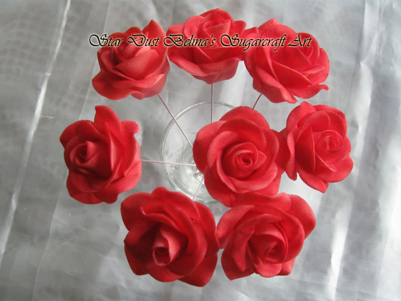 Red wired roses sugar flowers
