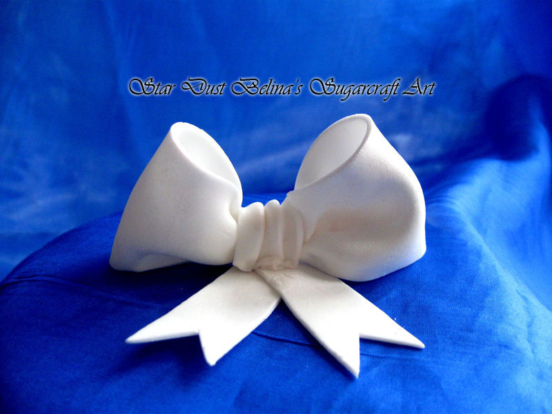 Handcrafted Edible Bow White Satin