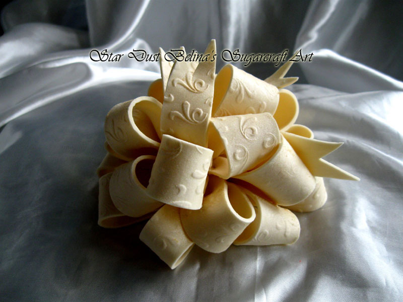 Handcrafted Elegant Bow in Ivory Handcrafted Embossed