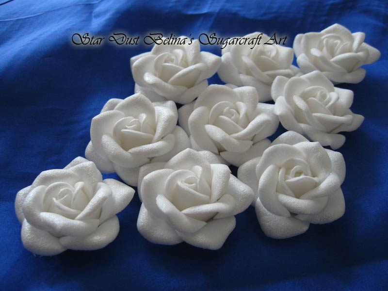 White satin roses sugar flowers