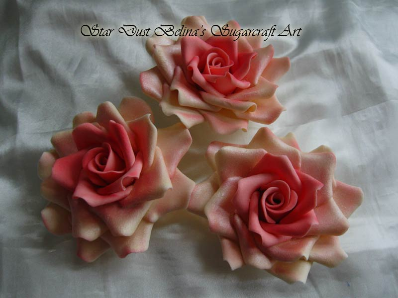 Three XL ivory/peachy pink roses sugar flowers