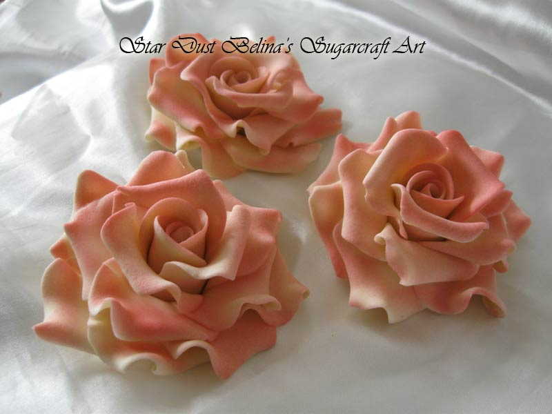 Extra Large ivory/red roses sugar flowers