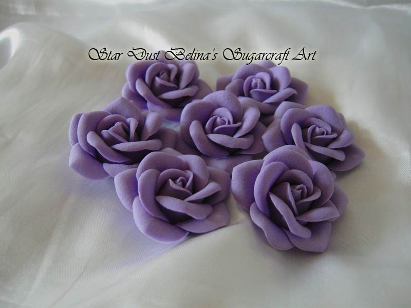 Purple/lilac roses sugar flowers