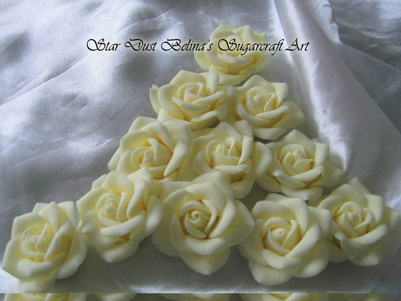 Cream roses sugar flowers