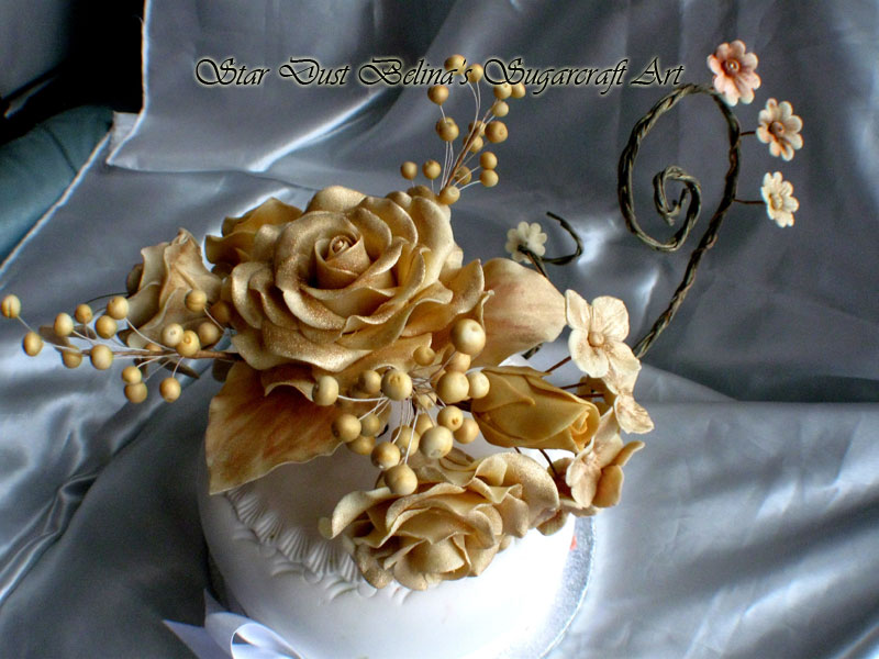 $Gold roses sugar bouquet
