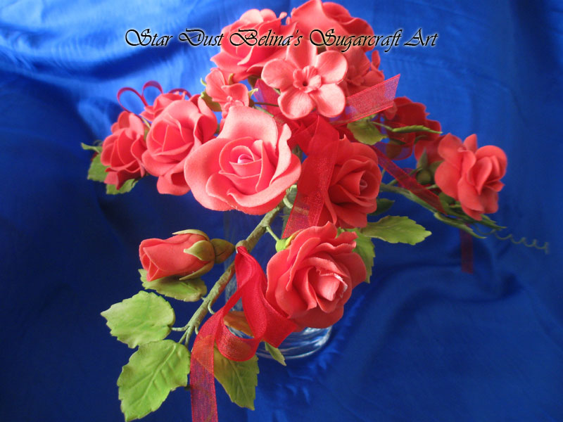 $Pink rose sugar flower bouquet