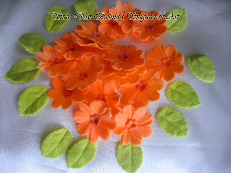 Orange sugar flowers whit green