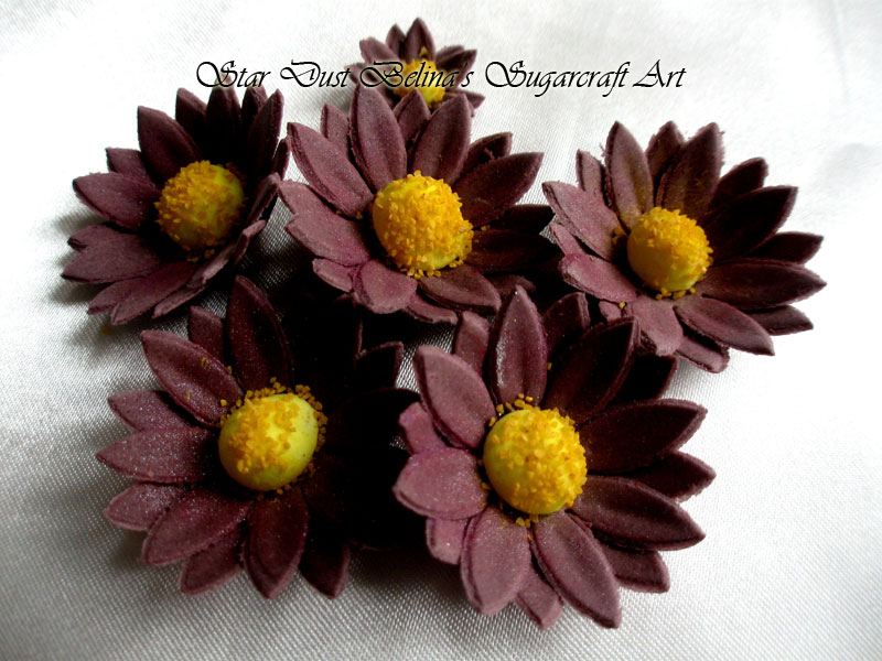 $Purple daisy sugar flowers